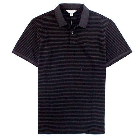 Polo Calvin Klein Masculina Striped Piquet Polo - Black