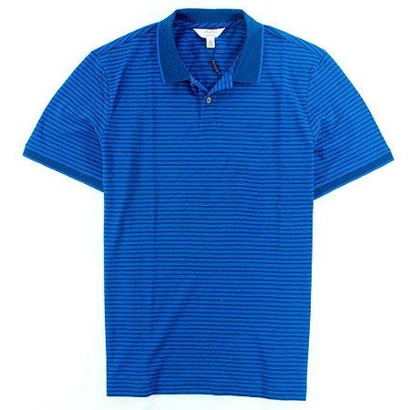 Polo Calvin Klein Masculina Striped Piquet Polo - Blue