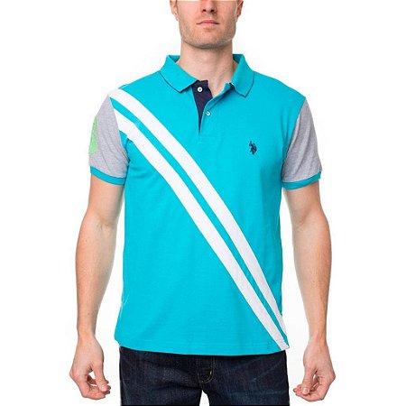 Polo U.S. Polo Assn. Masculina Diagonal Stripe Piquet - Turquoise