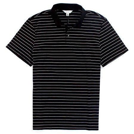 Polo Calvin Klein Masculina Striped - Black