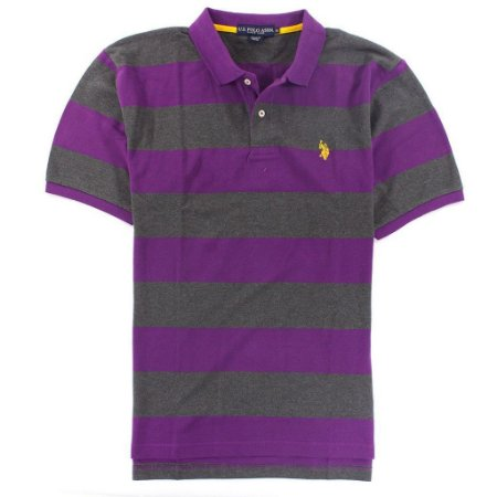 Polo U.S. Polo Assn. Masculina Small Logo Stripe - Purple and Grey