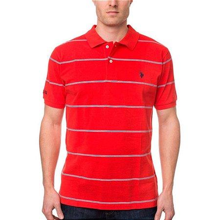 Polo U.S. Polo Assn. Masculina Stripe Piquet  - Red
