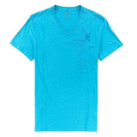 Camiseta Calvin Klein Masculina Vertical Graphic V-Neck Tee - Turquoise
