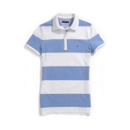 Polo Tommy Hilfiger Feminina Striped Piquet - White and Light Blue