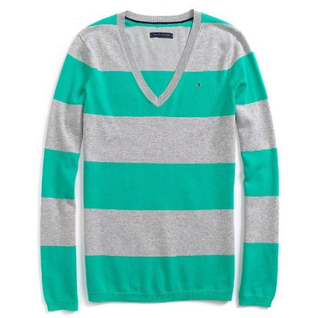 Sweater Tommy Hilfiger Feminina Striped - Grey and Green