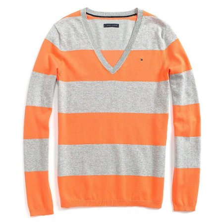 Sweater Tommy Hilfiger Feminina Striped - Grey and Orange