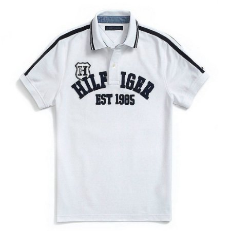 Polo Tommy Hilfiger Masculina Custom Fit Chest 1985 - White