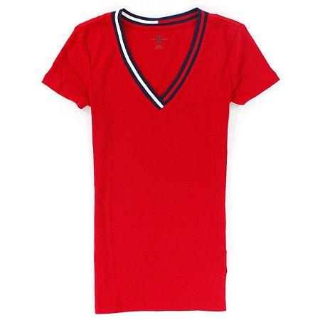 Camiseta Tommy Hilfiger Feminina Tradicional Logo V-Neck - Red