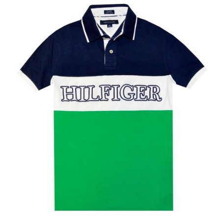 Polo Tommy Hilfiger Masculina Custom Fit Pieced Piquet - Navy and Green