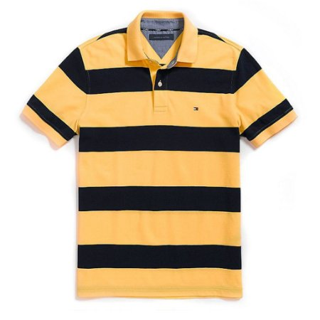 Polo Tommy Hilfiger Masculina Custom Fit Piqué - Yellow