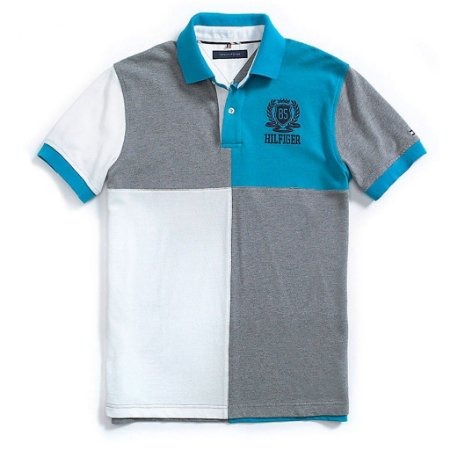 Polo Tommy Hilfiger Masculina Custom Fit Quartered Piquet - Turquoise and Grey