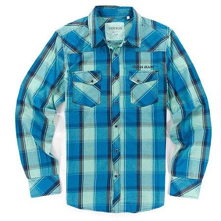 Camisa Guess Masculina Associate Western Plaid - New Lagoon