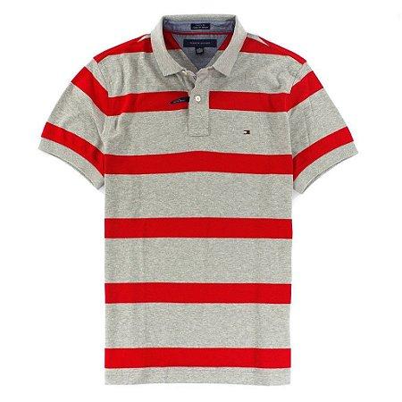 Polo Tommy Hilfiger Masculina Custom Fit Stripe - Grey & Red