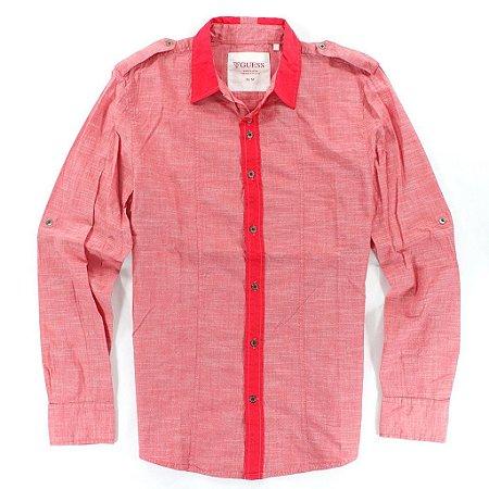Camisa Guess Masculina Civil Plain Slub Poplin - Summer Love Pink