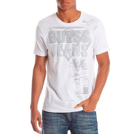 Camiseta Guess Masculina Everett Logo Crew - True White