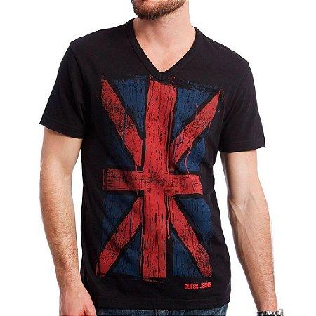 Camiseta Guess Masculina Flag UK Print V-Neck - Jet Black