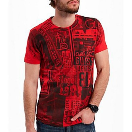 Camiseta Guess Masculina Jace Print Crew - Red Hot