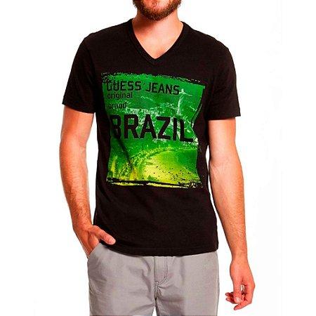 Camiseta Guess Masculina Kenji Destination Brazil - Jet Black