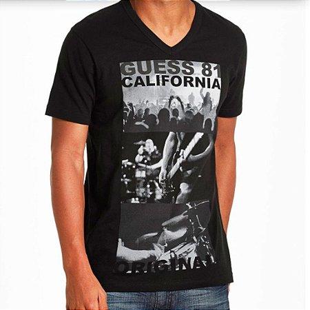 Camiseta Guess Masculina Kieran Print V-Neck - Jet Black