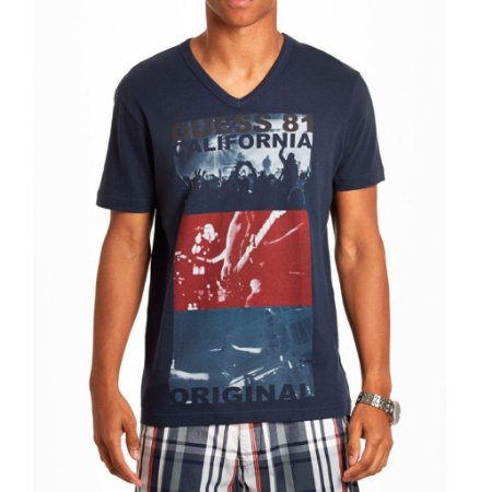 Camiseta Guess Masculina Kieran Print V-Neck - Officer Blue