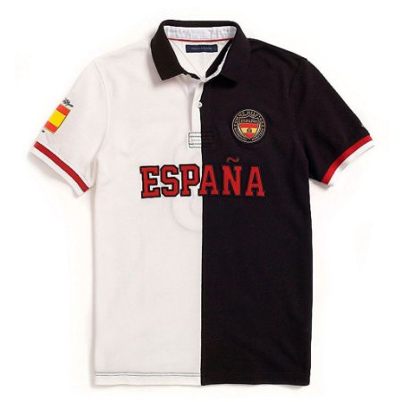 Polo Tommy Hilfiger Masculina España World Edition Piquet - Black and White