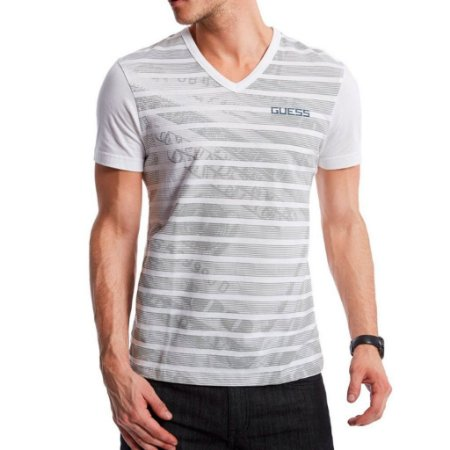 Camiseta Guess Masculina Money Stripe Print V-Neck - True White