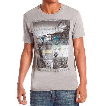 Camiseta Guess Masculina Nelson Destination Print Crew - Affinity Grey