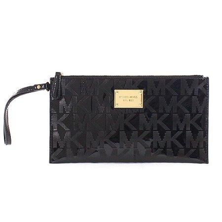 Bolsa Michael Kors Signature Mirror Metallic Clutch Bag - Black