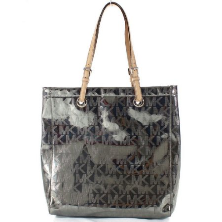 Bolsa Michael Kors Signature Mirror Metallic Tote - Nickel