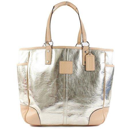 Bolsa Coach Metro Leather Tote Bag - Gold