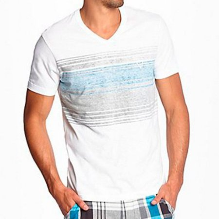 Camiseta Guess Masculina Rescan Stripe V-Neck Tee - True White
