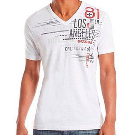 Camiseta Guess Masculina Solano Graphic Tee - True White