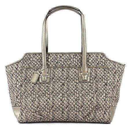 Bolsa Coach Taylor Snake Print Alexis Carryall Bag - Gunmetal