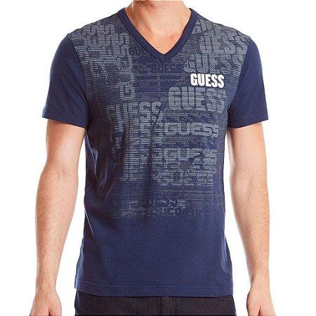 Camiseta Guess Masculina Wharton Logo V Tee - Office Blue