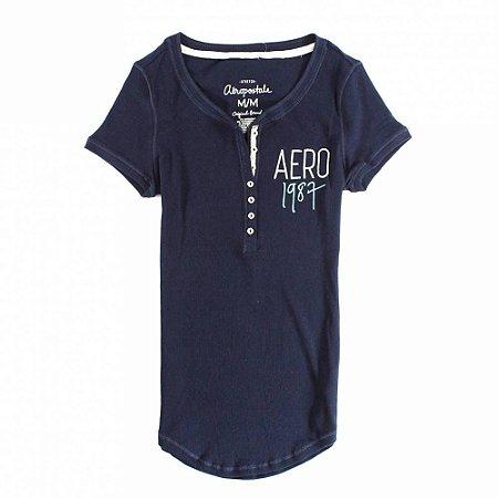 Camiseta Aéropostale Feminina 1987 Crest Henley - Navy
