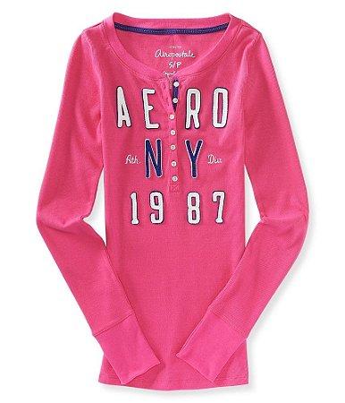 Manga Longa Aéropostale Feminina NY 1987 Henley - Pink