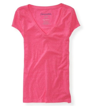Camiseta Aéropostale Feminina Solid V-Neck - Pink