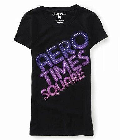 Camiseta Aéropostale Feminina Times Square Graphic - Navy