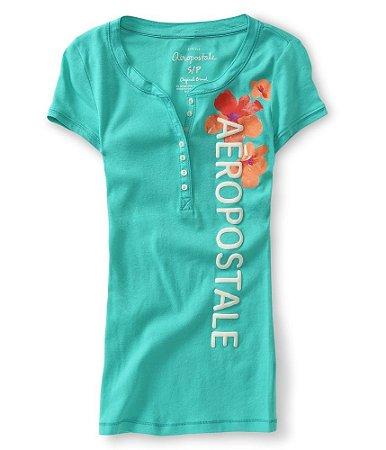Camiseta Aéropostale Feminina Tropical Blossom Henley - Green