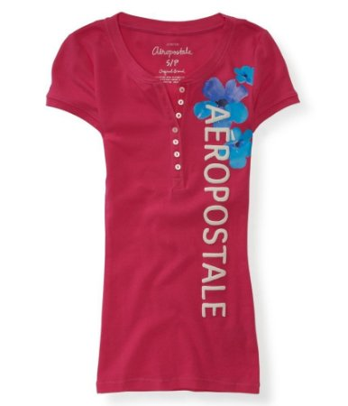 Camiseta Aéropostale Feminina Tropical Blossom Henley - Pink