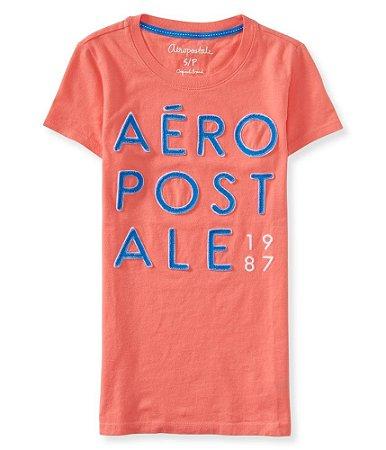 Camiseta Aéropostale Feminina Appliqué Stack - Coral