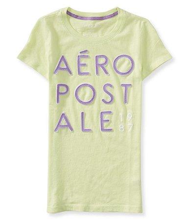 Camiseta Aéropostale Feminina Appliqué Stack - Lime