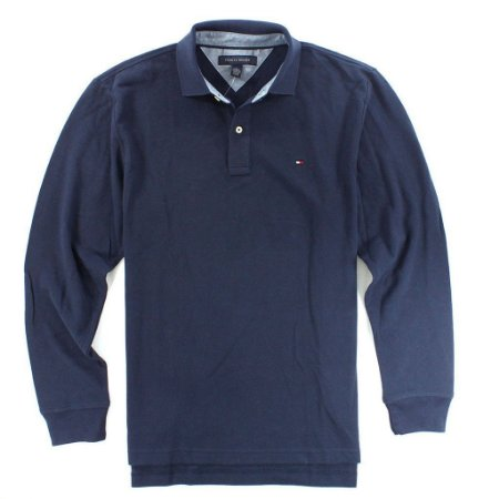 Polo Tommy Hilfiger Masculina Long Sleeve Classic Piquet - Navy