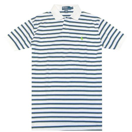 Polo Ralph Lauren Masculina Classic Fit Striped Pony Polo  - White