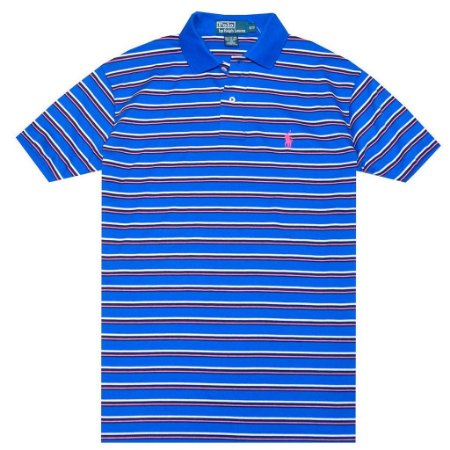 Polo Ralph Lauren Masculina Classic Fit Striped Pony Polo - Blue