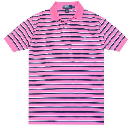 Polo Ralph Lauren Masculina Classic Fit Striped Pony Polo - Pink