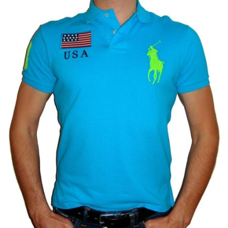 Polo Ralph Lauren Masculina Countries Custom Piquet Polo - Turquoise