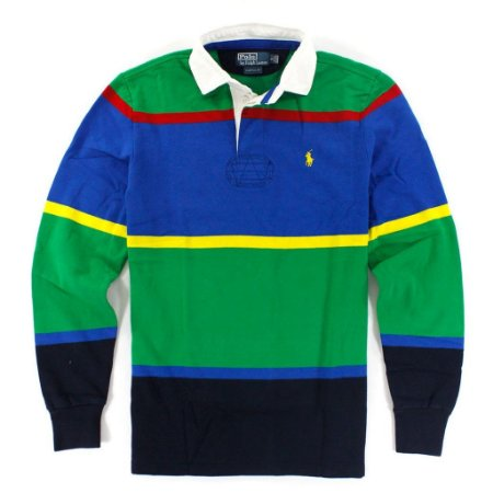 Polo Ralph Lauren Masculina Custom Fit Long Sleeve Polo - Green and Blue