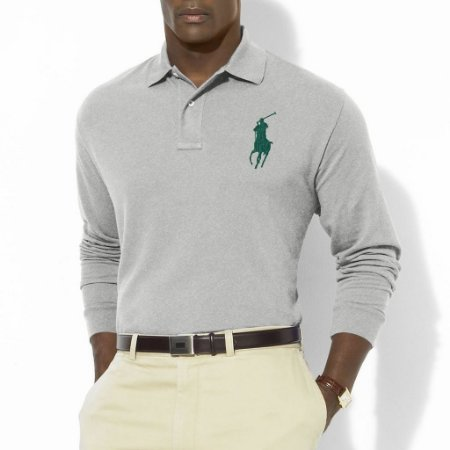 Polo Ralph Lauren Masculina Long Sleeve Big Pony Polo - Andover Heather
