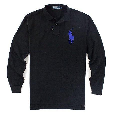 Polo Ralph Lauren Masculina Long Sleeve Big Pony Polo - Black
